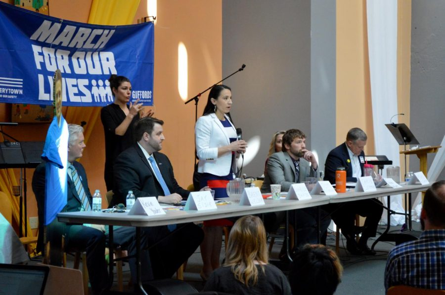 Kansas 3rd District election candidate Sharice Davids responds to a question during the Town Hall for Our Lives.