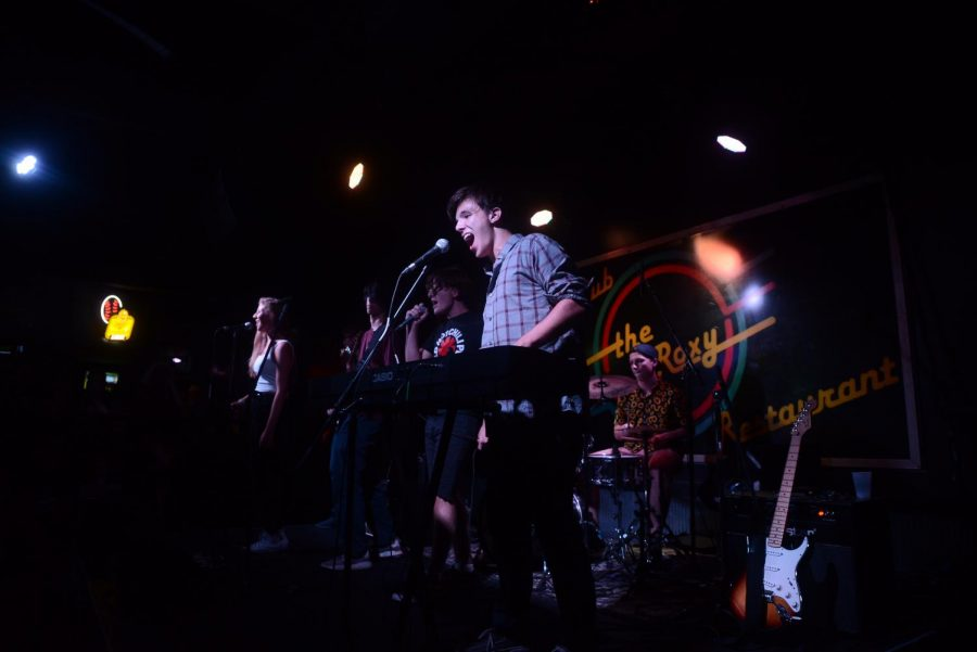 Max Indiveri performing live at The Roxy with his band The Whips.
