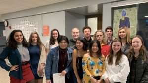 Members of the National Art Honor Society after the induction ceremony on January 13th. (Left to right, top to bottom)_ Adriana Cordero, Stacey Agamir, Gabby Geiger, Sam Fink, James Robey, Daniel McIntyre, Isaac Decker, Lauren Blood.