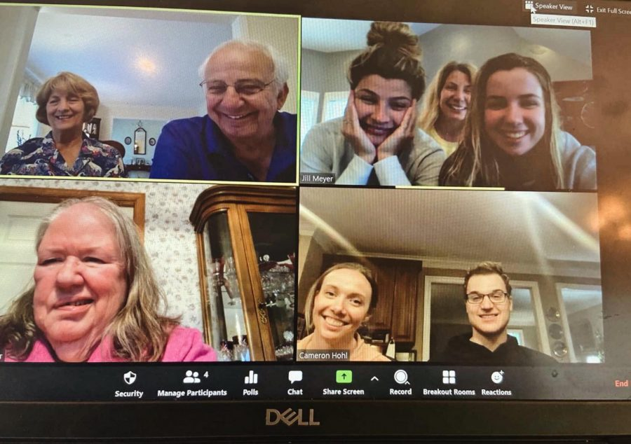 Junior Mackenzie Meyer participates in a Chopped competition with her extended family over a Zoom call.