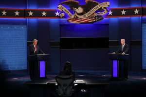 Presidential candidates Donald Trump and Joe Biden go head to head in the final Presidential Debate. Photo by Amr Alfiky for The New York Times.