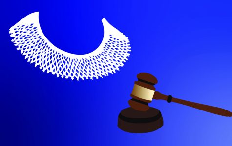 Supreme Court Justice Ruth Bader Ginsburg was often recognized for the many different neckpieces and jabot collars she would wear over her robe. This graphic depicts a white, crocheted jabot from South Africa, her self-proclaimed favorite.